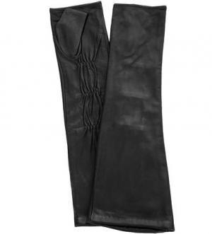 Длинные кожаные митенки ELEGANZZA. Цвет: черный