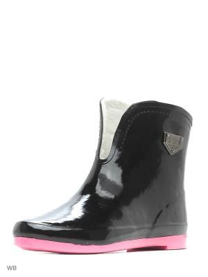 Резиновые сапоги KEDDO. Цвет: черный, розовый