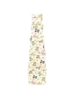 Коробка картонная, набор из 5 шт. 9х9х9 - 17х17х17 см. Мишки-малышки VELD-CO. Цвет: серый, бледно-розовый, персиковый