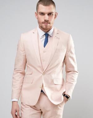 Gianni Feraud Приталенный пиджак из 55% льна с булавкой-цветком на лацкане Fe. Цвет: розовый