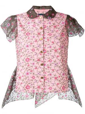 Рубашка с рукавами-кап и цветочным принтом Kolor. Цвет: розовый и фиолетовый