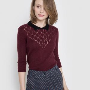 Пуловер ажурный с воротником-поло MADEMOISELLE R. Цвет: бордовый,зеленый анис,серый меланж
