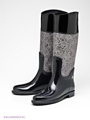 Резиновые сапоги Lady Lita. Цвет: черный, серебристый