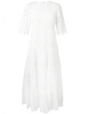 Кружевное платье Oleander Zimmermann. Цвет: белый