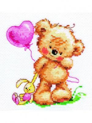 Мишутка -лапочка  11х12 см Алиса. Цвет: желтый, коричневый, светло-коричневый, розовый