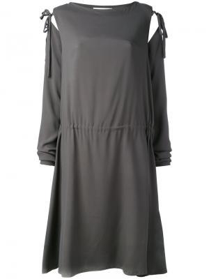 Платье с завязками на рукавах Société Anonyme. Цвет: серый