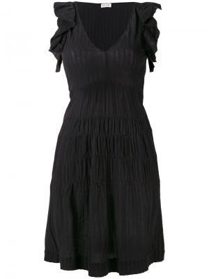 Расклешенное платье с оборчатыми рукавами Masscob. Цвет: чёрный