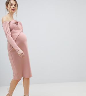 ASOS Maternity Платье-бандо миди с длинными рукавами. Цвет: розовый