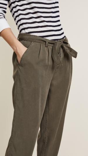 All Weather Twill Pleated Pants Three Dots