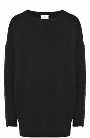 Пуловер свободного кроя из смеси шерсти и кашемира Allude. Цвет: черный