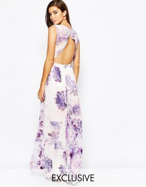 True Violet Платье макси с открытой спиной и цветочным принтом. Цвет: фиолетовый