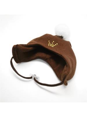 Шапочка зимняя коричневая 1 помпон Yoriki. Цвет: коричневый