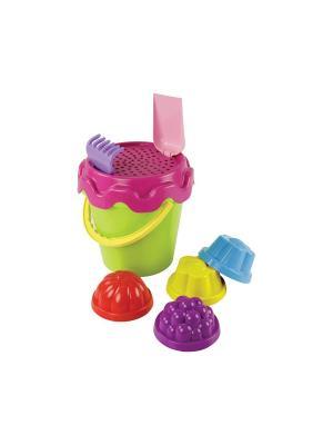 Набор детский №4 (граб+лопат+вед+сито+4форм) Альтернатива. Цвет: салатовый, голубой, фиолетовый, красный, розовый, желтый