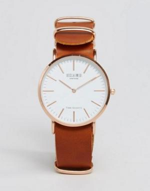 Reclaimed Vintage Часы со светло-коричневым кожаным ремешком Inspired. Цвет: рыжий