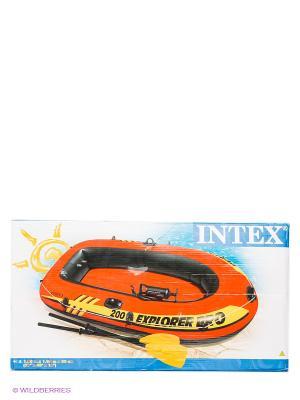 Надувная лодка Intex. Цвет: коралловый, черный