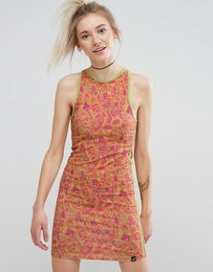 Illustrated People Облегающее платье с принтом пейсли. Цвет: оранжевый