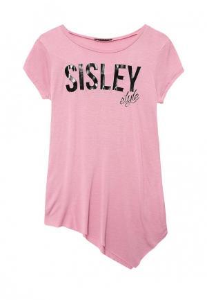 Футболка Sisley. Цвет: розовый
