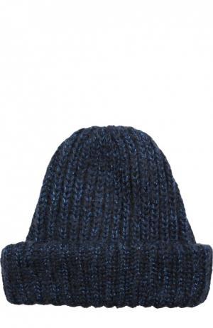 Вязаная шапка с отворотом Eugenia Kim. Цвет: темно-синий