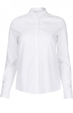 Хлопковая блуза прямого кроя с кружевной отделкой Maje. Цвет: белый