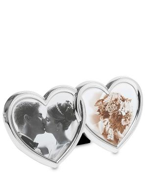 Фоторамка Влюбленные сердца на 2 фото Bellezza casa. Цвет: серебристый