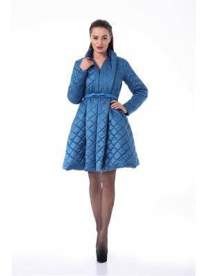 Утепленное пальто PAOLA MORENA. Цвет: темно-синий, лазурный, синий