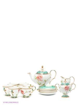 Чайный сервиз на 6 персоны Роза Pavone. Цвет: белый, розовый, золотистый