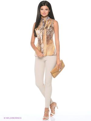 Блузка YUVITA. Цвет: коричневый