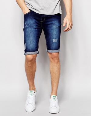 Loyalty & Faith Темные состаренные джинсы. Цвет: синий