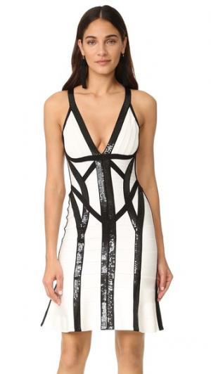 Платье Zahara с черными блестками Herve Leger. Цвет: алебастр, комбинированный