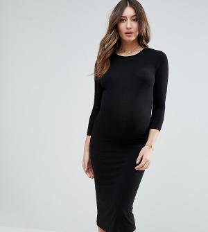 ASOS Maternity Облегающее платье миди с длинными рукавами. Цвет: черный