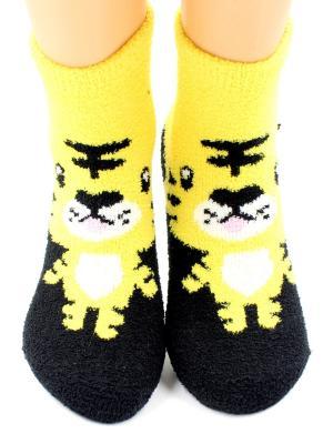Носки махровые HOBBY LINE. Цвет: черный, желтый