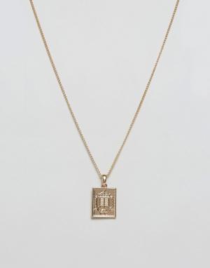 Chained & Able Золотистое ожерелье с подвеской. Цвет: золотой