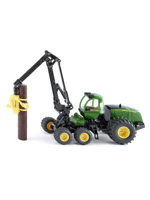 Трактор с захватом для бревен Джон Дир SIKU. Цвет: черный, зеленый, серый