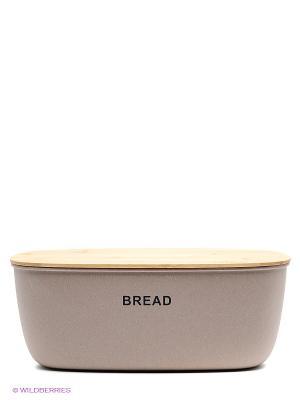 Хлебница бамбуковая с разделочной доской Frybest. Цвет: коричневый