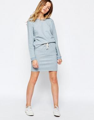 People Tree Меланжевая юбка из органического хлопка. Цвет: синий