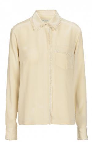 Шелковая блуза с бахромой и накладным карманом Dries Van Noten. Цвет: кремовый