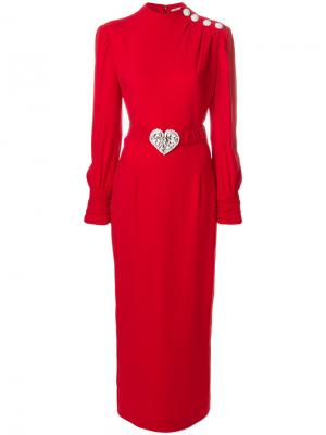 Платье с длинными рукавами и поясом Alessandra Rich. Цвет: красный