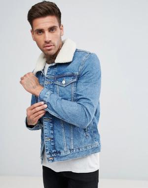 River Island Голубая джинсовая куртка с воротником борг. Цвет: синий