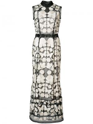 Платье с вышивкой Marchesa Notte. Цвет: белый