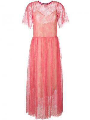 Кружевное платье Forte. Цвет: розовый и фиолетовый