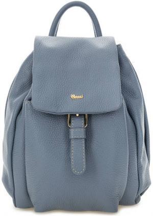 Кожаный рюкзак с откидным клапаном Bruno Rossi. Цвет: синий