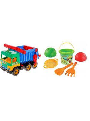 Грузовик с набором для песка 5 эл. ТИГРЕС. Цвет: желтый, синий, зеленый, красный