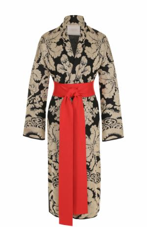 Пальто с металлизированным принтом и контрастным поясом Tak.Ori. Цвет: черный