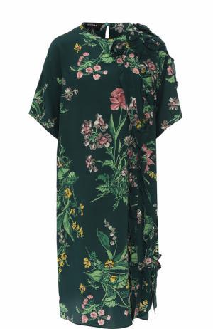 Шелковое платье прямого кроя с принтом Rochas. Цвет: зеленый