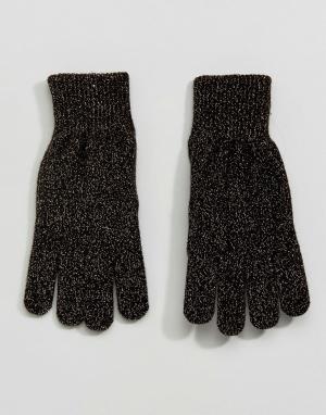 Monki Перчатки с эффектом металлик. Цвет: золотой