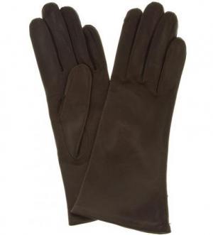 Кожаные перчатки с шелковой подкладкой Bartoc. Цвет: коричневый