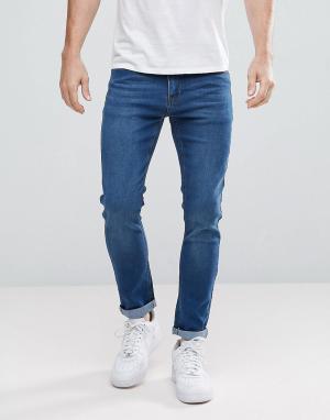 BoohooMAN Синие выбеленные джинсы скинни. Цвет: синий
