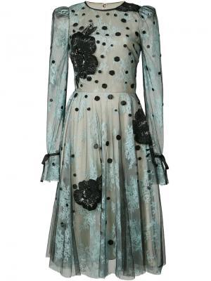 Тюлевое платье с цветочным узором Monique Lhuillier. Цвет: синий