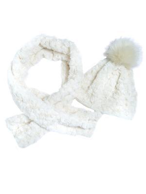 Комплект: шапка и шарф CHICCO. Цвет: светло-бежевый