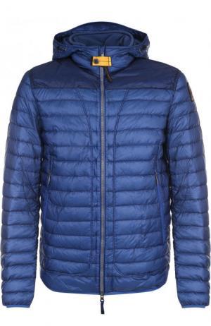 Стеганая куртка на молнии с капюшоном Parajumpers. Цвет: синий